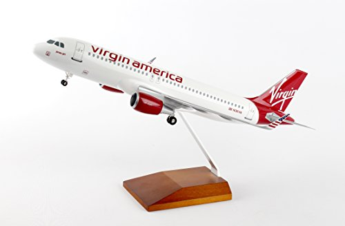 (SKYMARKS VIRGIN AMERICA A320 1/100 W/GEAR & WOOD STAND)