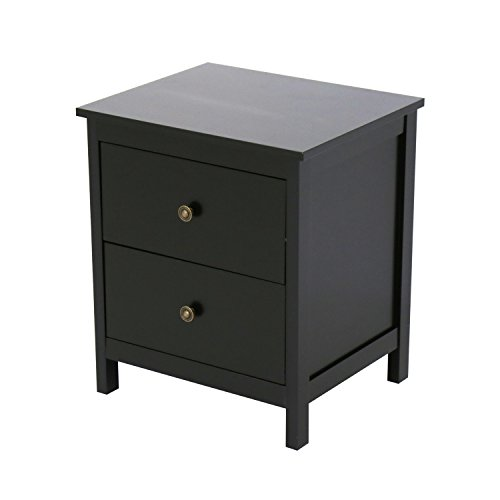 Kinbor Bedroom furniture Black Night Stand Table with Double Drawers and Cabinet for Storage