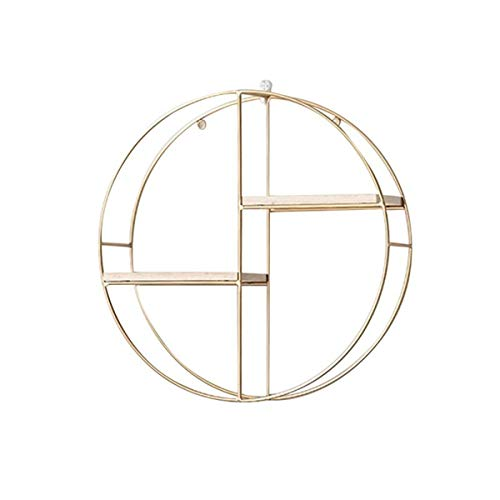 Cozylkx Metal Wire Display Rack, Floating Shelves Wall Mounted Geometric Decoration for Photos, Collectibles, Plants - Circle 03 (Gold)