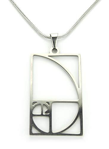 Ann Claridge Fibonacci Necklace, No-Tarnish Pure 304 Stainless Steel, Fibonacci Sequence Spiral Sacred Geometry Symbol Charm Pendant Jewelry 18
