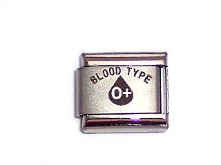 Blood Type O + Positive Medical 9mm Italian Charm -