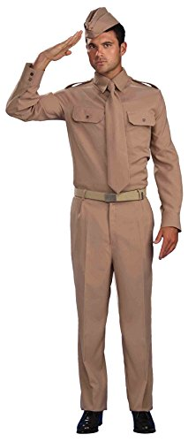 Soldier Outfit (UHC Men's World War II Military Private Soldier Outfit Halloween Fancy Costume, STD (Up to 42))