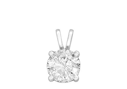 Pendentif solitaire diamant 0,5carat or blanc 9carats