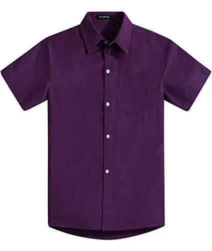 Spring&Gege Boys' Short Sleeve Solid Formal Cotton Twill Dress Shirts Purple 9-10 Years