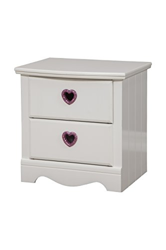 Sandberg Furniture Sparkling Hearts 2-Drawer Nightstand, Frost White by Sandberg Furniture