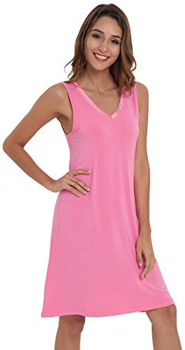 (NEIWAI Womens Sleep Shirt Bamboo Nightgowns Sleepwear Raspberry Pink M)