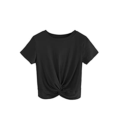 MakeMeChic Women's Summer Crop Top Solid Short Sleeve Twist Front Tee T-Shirt at Women's Clothing store
