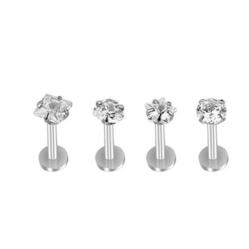 Micropromo 4 pcs 16G Gem Steel Labret Lip Rings Ear Earlet Tragus Cartilage Earrings Stud Monroe Piercing Jewelry for Teen Girls / Girls / Women - Silver