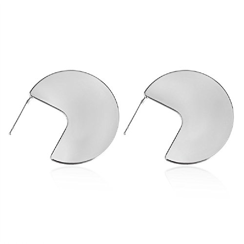 - CHOA Metal Round Sequins Drop Earring Women Large Circles Statement Pendientes Brincos Long Geometry Earring (SILVER)