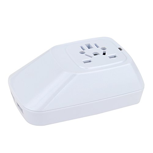 International Power Adapter Plug with 2 USB Ports by Wonplug – US Europe France UK Ireland Thailand China NZ Australia 150+ Countries – Built-in LED Light and Safety Switch– White