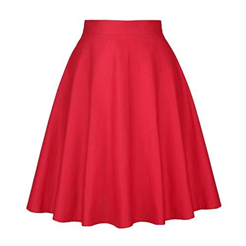 Longue 1950 Taille Crayon Haute Vintage Jupe Imprim Annes Pliss Floral Startreene Hepburn Audrey Femme Style Jupon Coupe Rouge Droite 1F5wcq