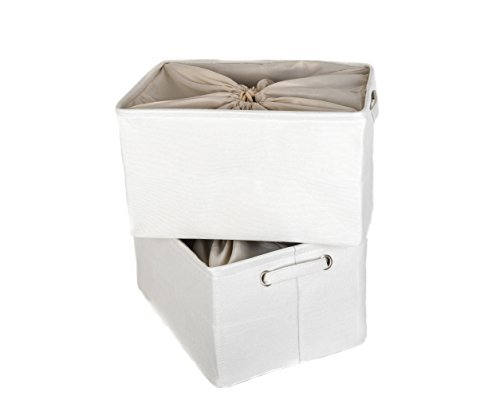 Large Fabric Storage Bins With Lid by Codin | Stylish 16,5 x 12,6 x 9,4 Inches Consolidated Foldable Storage Cubes With Handles And Dustproof Drawstring Closure, ( 2-Pack, White ) Fits Anywhere