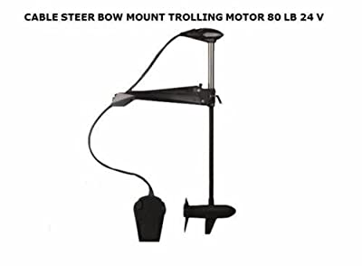 "Haswing Cayman 24v 80lbs Bow Mount Electric Trolling Motor Black 48"" Shaft with Cable Steering."