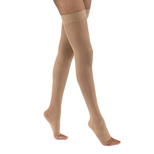 - JOBST UltraSheer Thigh High with Silicone Dot Top Band, 30-40 mmHg Compression Stockings, Open Toe, Medium, Natural