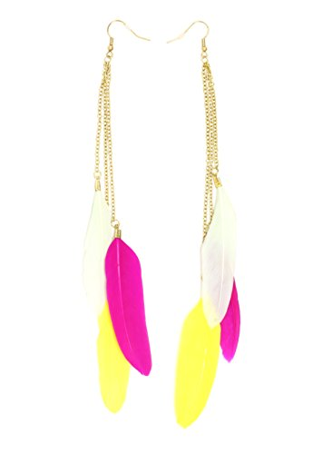 Colorful Feather Chandelier Earrings Yellow Pink White Dangling EH67 Fashion Jewelry