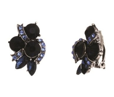 Blue Rhinestone Silver Tone Clip on Formal Fancy Earrings