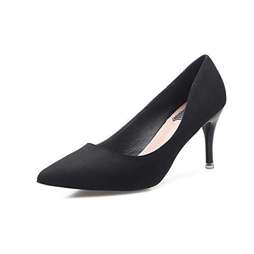 DIMAOL Chaussures Pour Femmes Fleece Printemps Automne Comfort Heels Talon Chaussures Occasionnels de Carrière Bureau & Rose Fuchsia Gris Noir,Black,US8.5/EU39/UK6.5/CN40