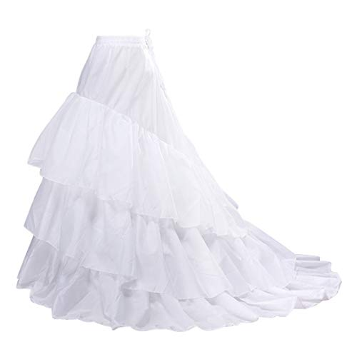 Women Trumpet Mermaid Fishtail Petticoat Crinoline Underskirt Slips Floor Length for Wedding Dress Ball gown(Big-White)