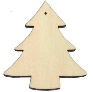 10 x wooden christmas tree shapes plain wood craft tags with hole 100mm 10cm - Wooden Christmas Tree Decorations