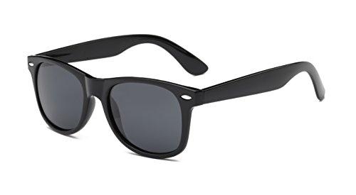 Aloyse Polarized Retro Sunglasses for Men Women Driving Fishing Cycling Outdoor Glasses - UV protection (Bright Black, Black - Cycling Sunglasses Retro