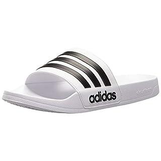 adidas Men's Adilette Shower Slides, White/Black/White, 10