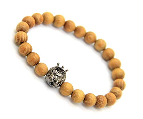 - Oseni Ailatu Jewelry Wholesale with 8mm Natural Yellow Wood Beads with King Crown Lion Head Bracelets (Black Gun Plated)