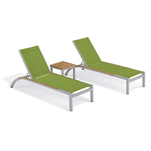 (Oxford Garden Argento 3-Piece Tekwood Natural Side Rails Chaise & Travira End Table Set - Go Green Sling)