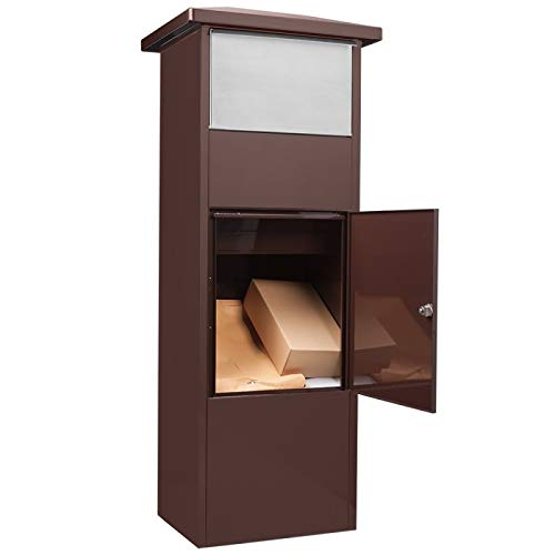 Winbest Steel Freestanding Floor Lockable Large Drop Slot Mail Box with Parcel Compartment, Brown by winbest