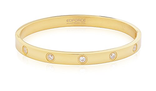 Edforce Stainless Steel Set In Stone Hinged Bangle