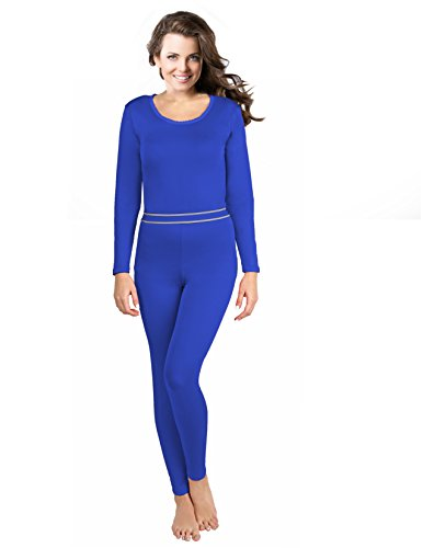 Rocky Women's 2pc Thermal Underwear, Top & Bottom Fleece Lined Long Johns (XLarge, Royal Blue)