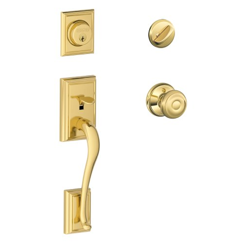 Geo Bright Brass Finish - Addison Single Cylinder Handleset and Georgian Knob, Bright Brass (F60 ADD 505 GEO 605)