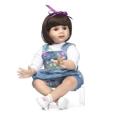 RX-Toys Reborn Toddler Doll Girl 23 inch 58 cm Silicone Big Eyes and Wig Real Lifelike Newborn Baby Wear Jeans for Kids Gift 3+