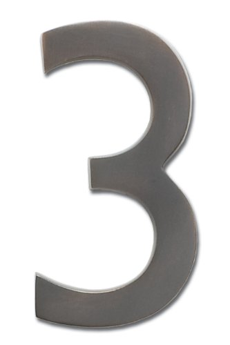 Architectural Mailboxes 3585DC-3  Brass 5-Inch Floating House Number 3, Dark Aged Copper (Dark Numbers)