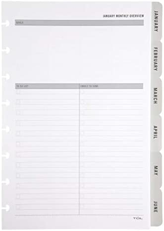 """TUL Discbound Monthly Planner Refills, with 12 Tab Dividers, Junior Size, 5-1/2"""" x 8-1/2"""", Gray, January to December 2021, TULMTHDVR-JR-RY"""