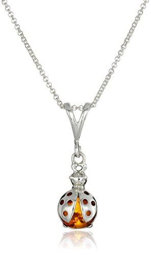 (Honey Amber Sterling Silver Ladybug Pendant Rolo Chain, 18