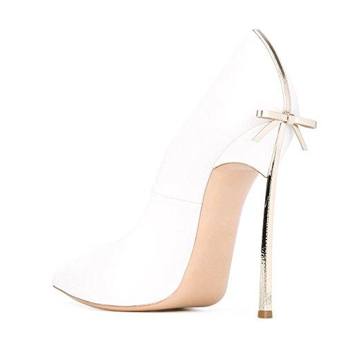 Court Gold Heels white Metal Stiletto A Heel Pointed Onlymaker Women's High Bowknot Toe Sexy Shoes UwWOzTaq