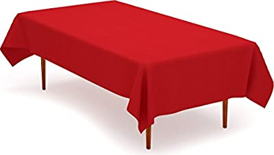 Tablecloth 60 x 102-Inch - Red Tablecloth - 100 Percent Polyester - Rectangular Table Cover - by Utopia Kitchen