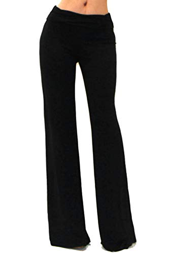 Vivicastle Women's Fold Over High Waist Wide Leg Long Palazzo Pants (Large, Solid Black)