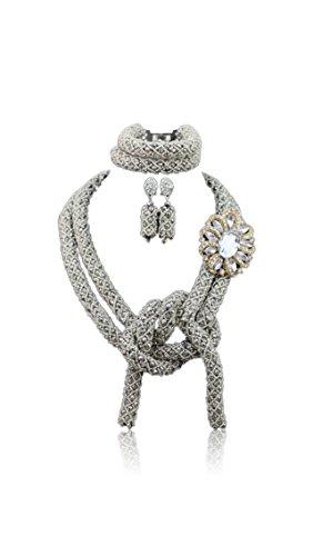 Argent Cravate du Nigeria Cristal fête de mariage collier de perles Boucles d'oreilles Bracelet Ensemble de Motif