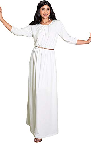 Autumn Gown (KOH KOH Petite Women Long 3/4 Sleeve Sleeves Vintage Autumn Fall Winter Flowy Formal Evening Work Office Modest Peasant Cute Abaya Gown Gowns Maxi Dress Dresses, Ivory White S 4-6 (1))