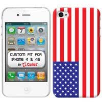 Nook24 White Proguard with Flag of America for Apple iPhone 4 & 4S