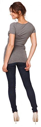 999p Elastico Grigio Maglietta Happy Melange Mama Maniche T Premaman Donna shirt Corte Top 6XXvqZw