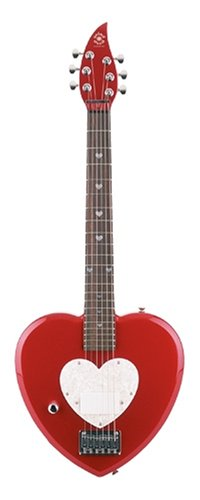 Daisy Rock Heartbreaker Short Scale Guitar Left-Handed, Red Hot Red ()