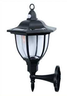 Solar Powered Wall Lamp- Set of 1- Motion Activated Security Lights- Wireless Outdoor Lantern- Beautiful Light Fixture- Garden Décor Accent Lighting- Best for Patio, Pool, Yard, Deck (Black)