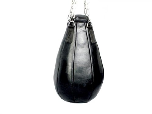 BAY®  POWER PACK  fertig fertig fertig gefüllte LEDER MAISBIRNE 60 cm Schlagbirne Boxball Boxbirne Sandsack Boxsack mit Stahlkette Stahl Kette Aufhängung, schwarz Sandsäcke Boxsäcke Box Sack befüllt voll mit Füllung gefüllt Maize  e0a4a3