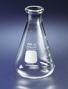 PYREX 250mL Narrow Mouth Erlenmeyer Flasks with Heavy Duty Rim, Ea (Flask Mouth Narrow Erlenmeyer 250ml)