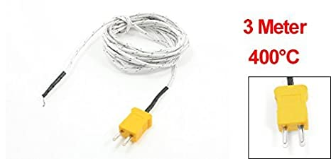DealMux 0-400 Grau Celsius K Termopar Tipo Probe Sensores 3 metros de cabo: Amazon.com: Industrial & Scientific