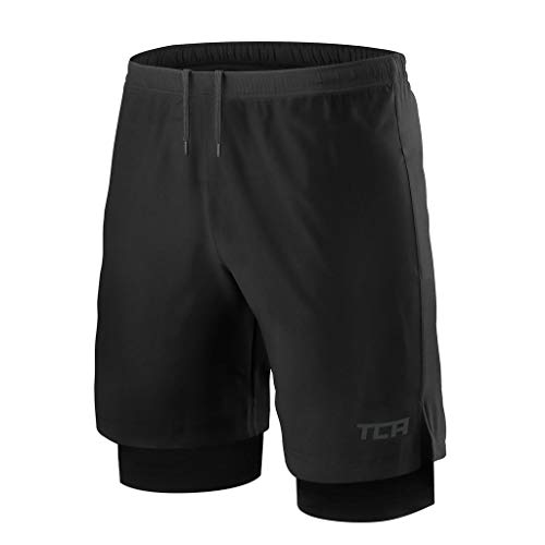 TCA Mens Ultra 2 in 1 Running Shorts with Inner Compression Short and Zip Pocket - Black/Black, L (9 In Running Shorts)