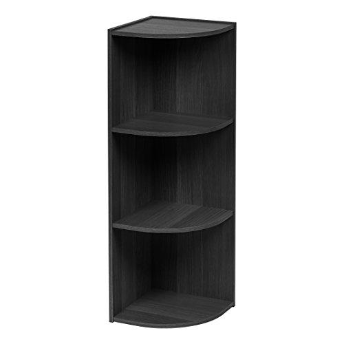 IRIS 3-Tier Corner Curved Shelf Organizer, Black Rustic Corner Bookcases