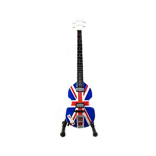 Beatles Miniature Guitar - Paul McCartney - Hofner Union Jack UK Flag Bass - Wood Replica 10 Inches